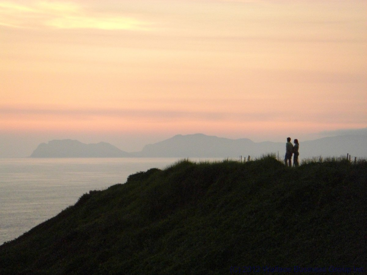 Romantic couple in silhouette at sunset in Lima Peru