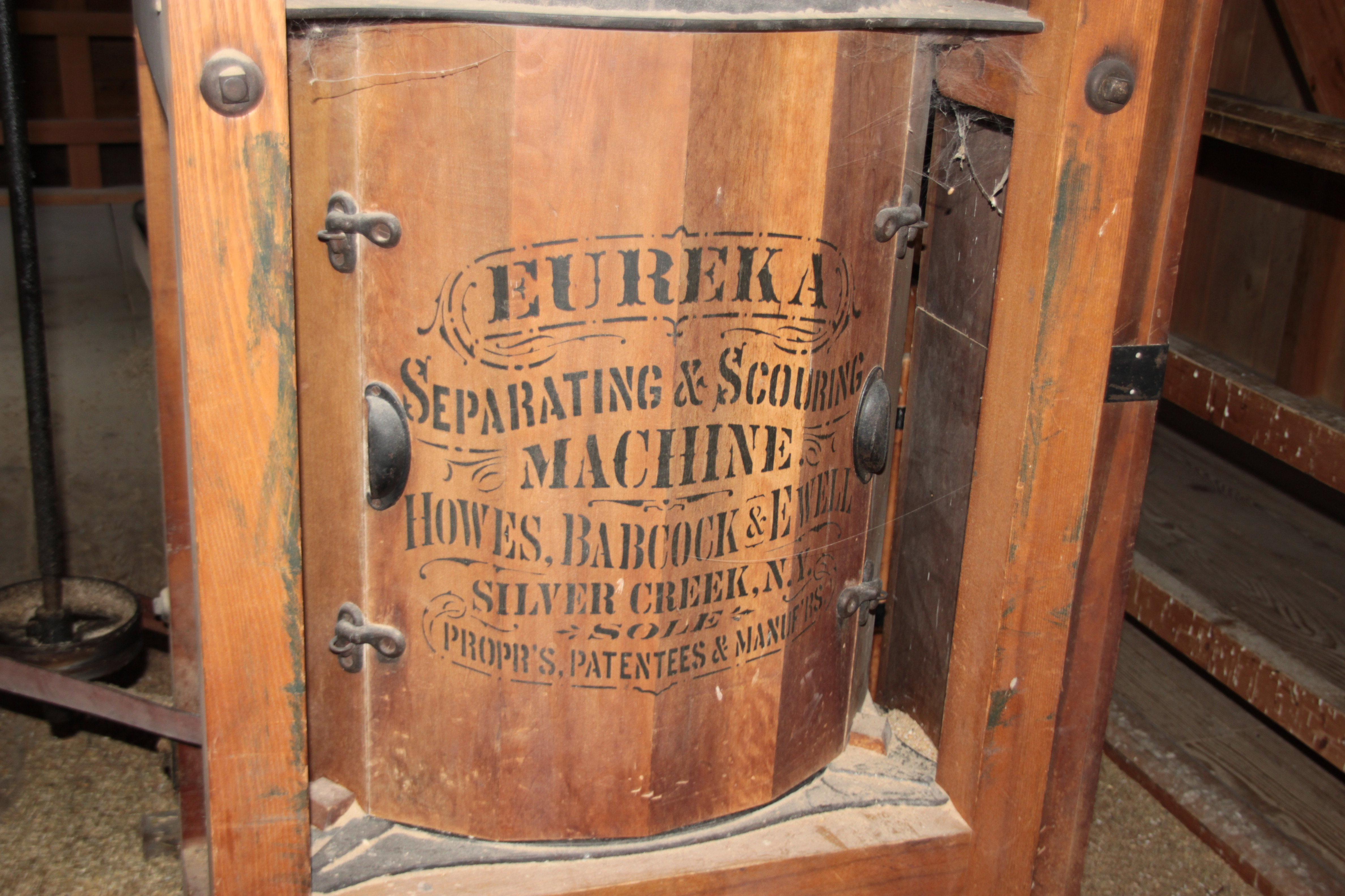 From the flour mill, the scouring machine.