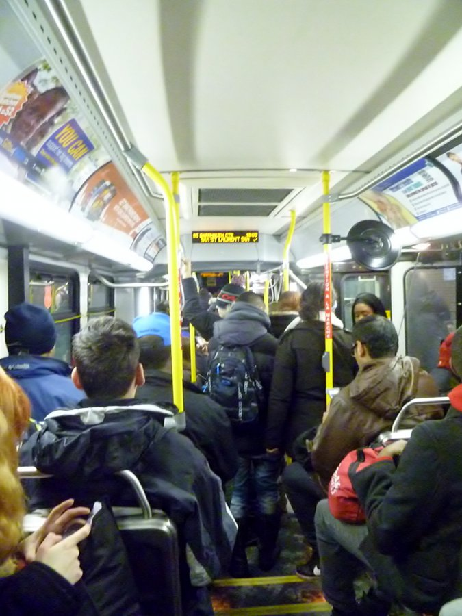 The bus is popular to get downtown on New Year's Eve!